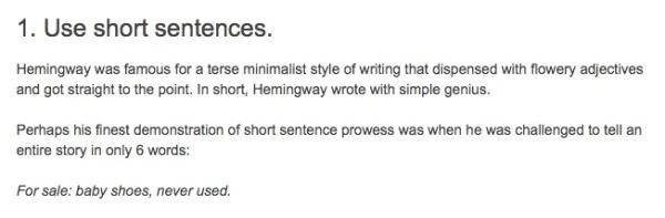 Shortest Hemingway story