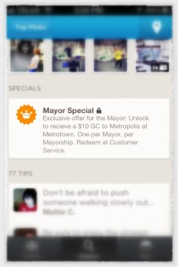 Foursquare special at Metropolis at Metrotown